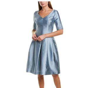 Teri Jon Gazar Silk Fit & Flare Dress